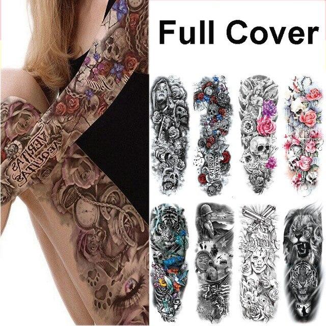 Waterproof Temporary Tattoo Sticker Flower Rose Flash Tattoos Lalash Tattoos Snake Lion Body Art Arm Fake Sleeve Tatoo Women|Temporary Tattoos|   -