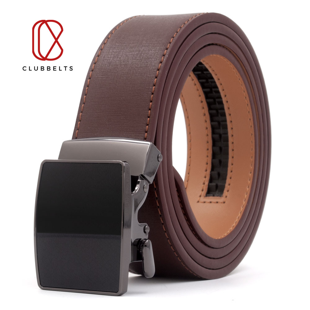 Clubbelts Men's Leather Ratchet Belt With Minimalism Automatic Buckle Genuine Leather Belts For Men