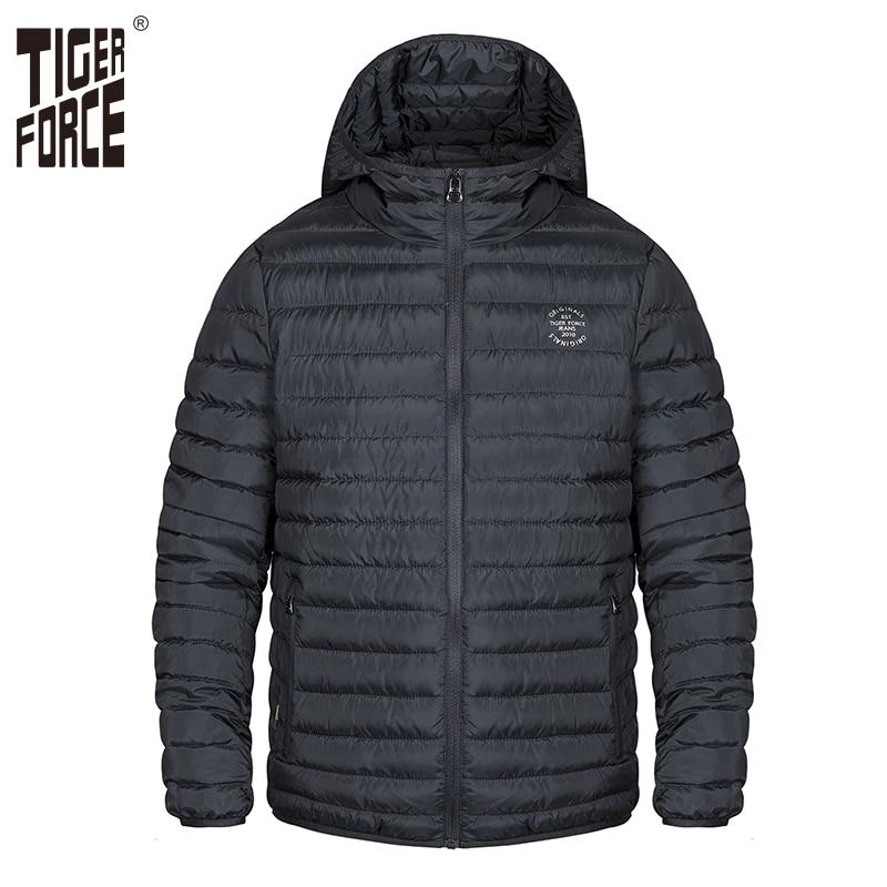 Tiger force men primavera jaqueta grossa parka masculino jaqueta sólida com capuz inchado casaco casual moda outerwear roupas plus size