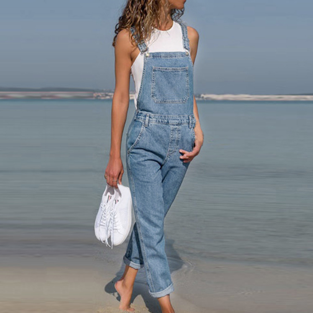 2020 New Blue Women's Denim Overalls Denim Jumpsuit Rompers Belted Hole Hollow Out Pocket Women Casual Fashion Female Pants Hot