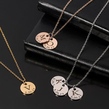 Customized Fashion Stainless Steel Initial Date Calendar Necklace Silver Color Letter Initials Name Necklaces Pendant Jewelry(China)