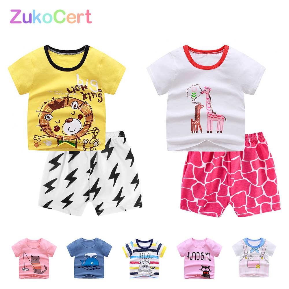 Zukocert Baby Kinderen T-shirt Set Zomer Puur Katoen Korte Broek Mode Baby Set Unisex O-hals Baby Outfit Set