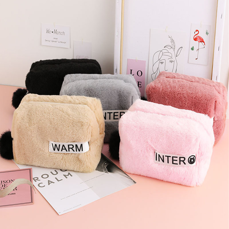 Plush Cute Pencil Case Stationery Pencilcase Kawaii Girls School Supplies Pen Bag Large Capacity Pencil Pouch Cosmetic Bag Gifts