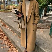 Vrouwen High-End Dubbelzijdige Kasjmier Lange 100% Wol 2021 Nieuwe Revers Koreaanse Losse Double Breasted Mode winter Jas Vrouwelijke DE1