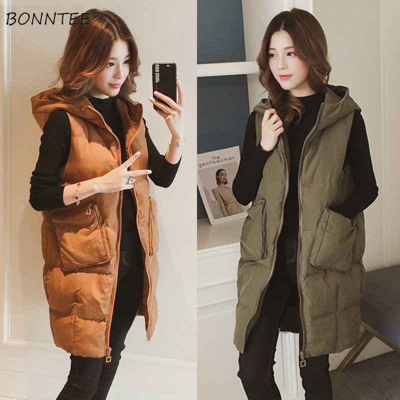 Vests Women Zipper Pockets Simple Trendy Graceful Casual Womens Waistcoats Thicker Winter Chic Female Hooded Warm Soft All-match
