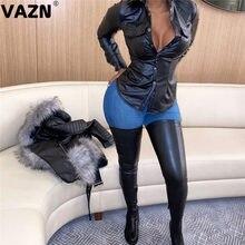 Vazn 2020 especial sexy senhora de couro do plutônio ocasional t camisa jovem senhora de manga cheia com decote em v confortável t camisa senhora diariamente t camisa