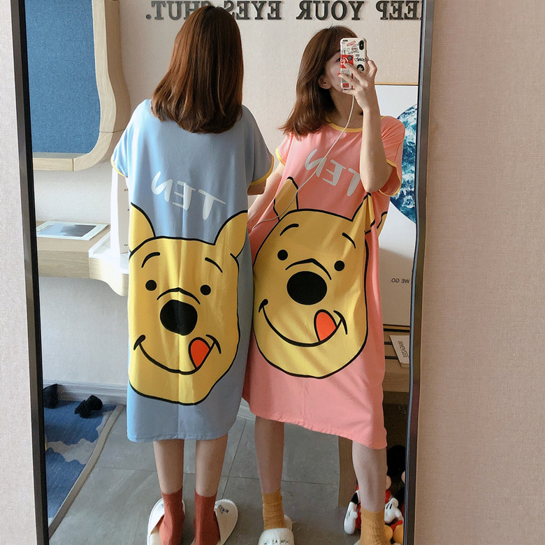 Summer Short-sleeved Nightgown Women's Pooh Bear Skirt 2020 New Style Home-feeding Filming 2 PCs Color