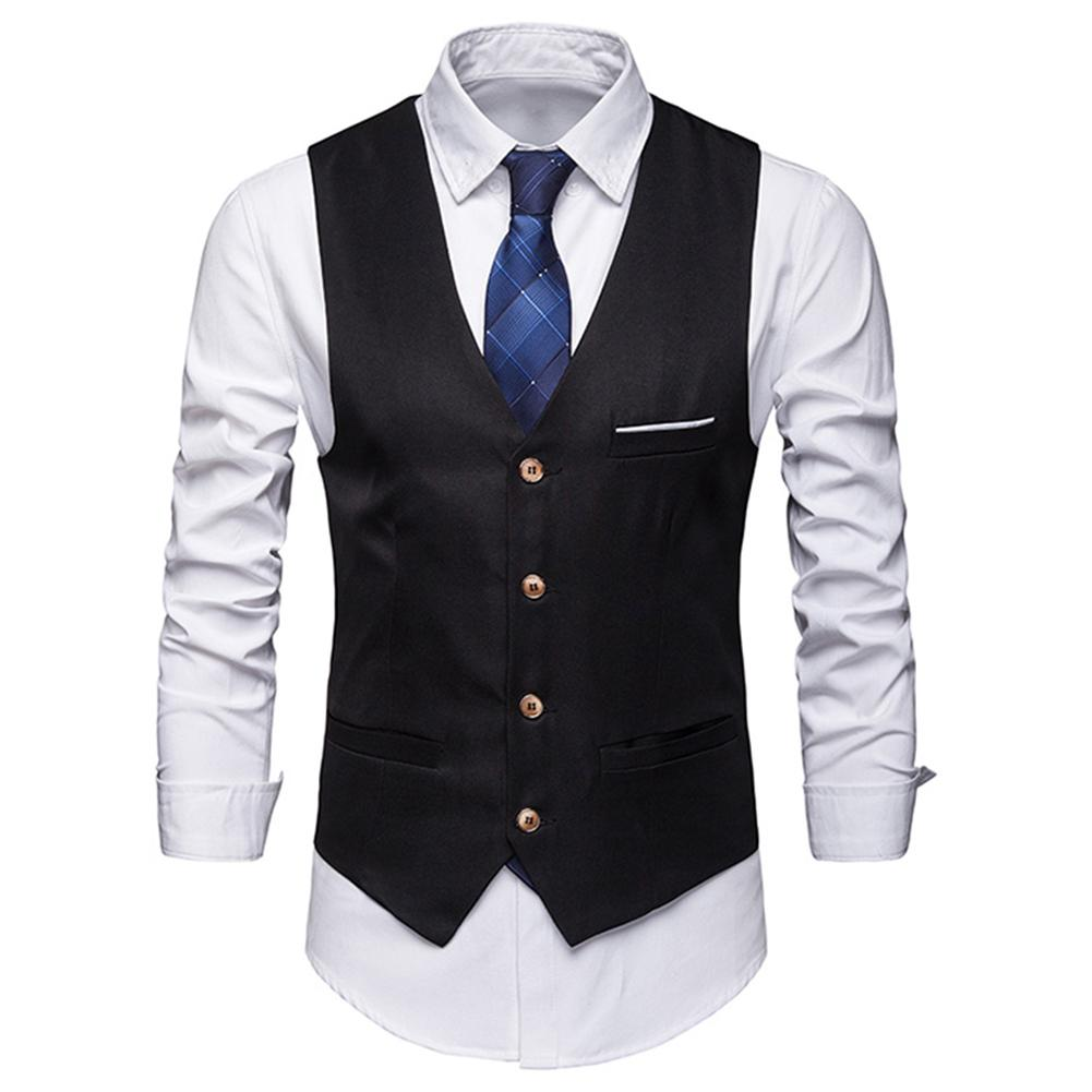 Plus Size Formal Men Solid Color Suit Vest Single Breasted Business Waistcoat Suitable For Wedding Party Office Great Gifts