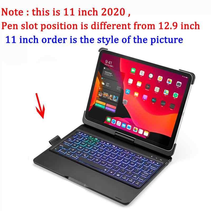 Per iPad Pro 12.9 11 2020 Custodia con Tastiera Supporto Della Penna 7 Colori Retroilluminato USA Tastiera del Bluetooth Per iPad Pro 2020 12 9 tastiera
