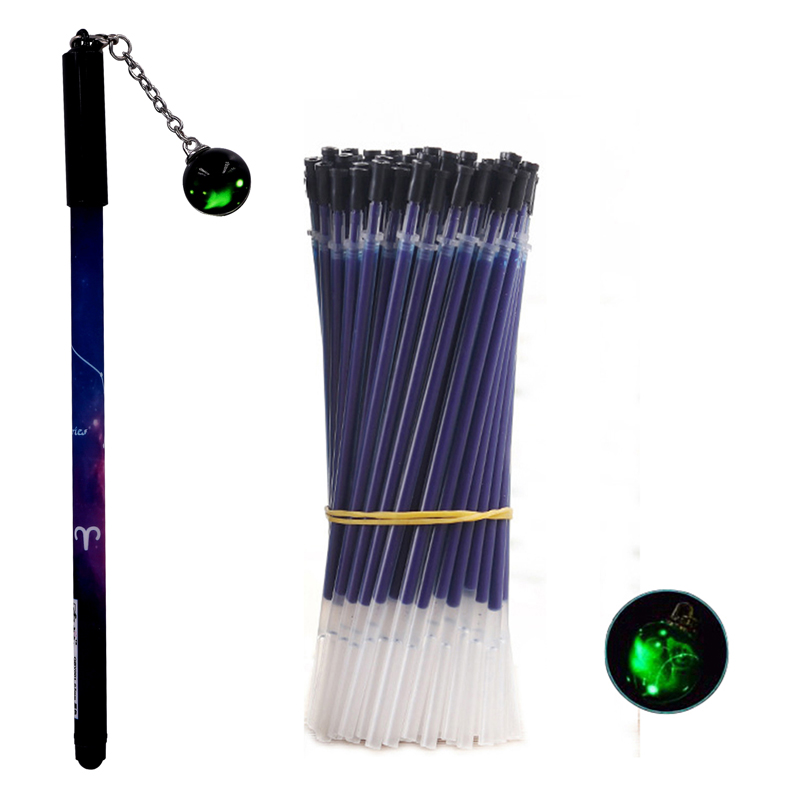 51Pcs/lot Luminous Pen Set 12 Constellation Gel Pen Refill Rod For Handle School Office Writing Kawaii Pens Stationery Gifts