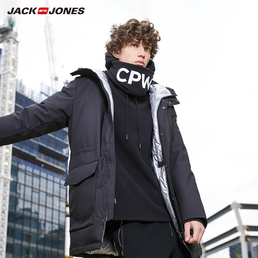 JackJones męskie zimowe kurtka puchowa z kapturem na co dzień mody płaszcz z kapturem długi styl odzieży męskiej 218312518 w Kurtki puchowe od Odzież męska na  Grupa 1