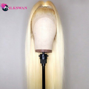 Silkswan Hair Straight Full Lace Wig 613 Blonde hair Remy Hair Wig Pre Plucked With Baby Hair 40 Inch Long Length Wig