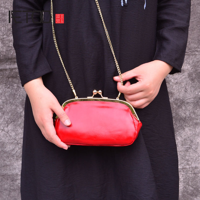AETOO genuine Leather fashion leather bag female retro solid color oil wax leather small square bag shell bag Metal chain bag