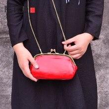 Женская кожаная сумка AETOO, маленькая квадратная сумка из натуральной кожи, однотонная ретро сумка с металлической цепочкой