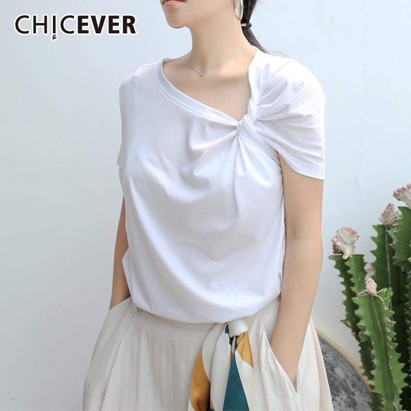 CHICEVER Ruched Basic T Shirt For Women Short Sleeve Big Size Irregular White T Shirts Top 2020 Spring Fashion New Clothing