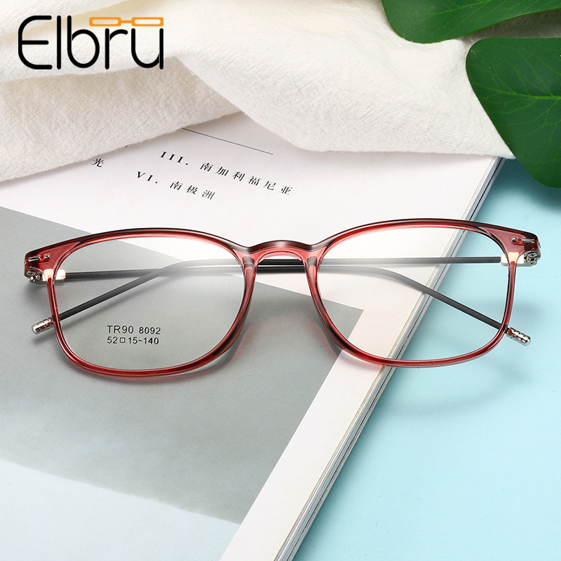 Elbru Ultralight TR90 Myopia Glasses Women&Men Fashion Transparent Square Frame Nearsighted Glasses With-0.5-1.0-1.5to-6.0