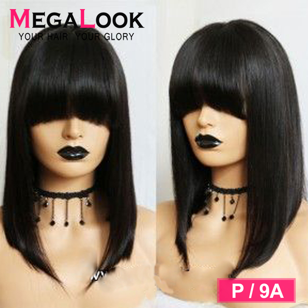 Bob Wig Brazilian Straight Short Human Hair Wigs With Bangs 150 Pre Plucked Machine Weft Remy Human Hair Wig