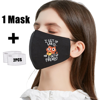 Morning Hip Hop Coffee Cat Print Reusable Protective PM2.5 Filter Mouth-Muffle Mask anti dust Face Mask Bacteria Proof Flu Mask