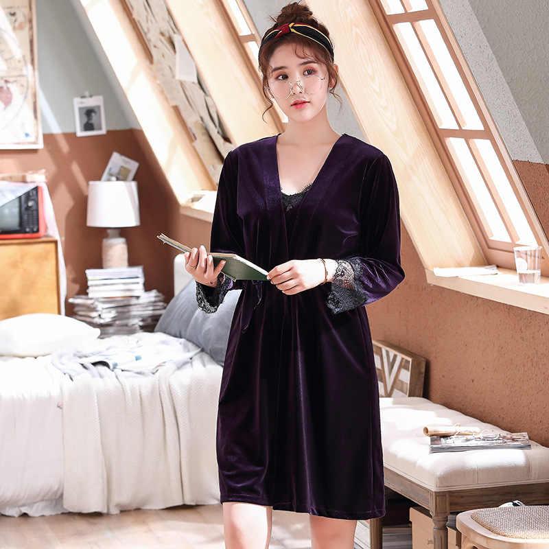 2 pièces vêtements de nuit Robe ensemble pour femme doux intime Lingerie élégante solide chemise de nuit maison vêtements chaud bleu marine velours Homewear