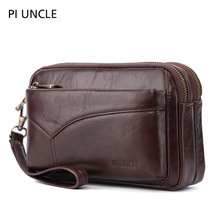 PI UNCLE Brand Genuine Leather Wristlet Envelope Daily Clutch Bag Men Casual Business Cell Phone Wallet Pouch Handhold Case