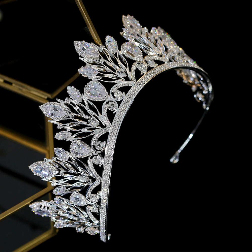 エレガントな王女の誕生日ティアラクラウンヘアアクセサリーシルバー結婚式の王冠ヘッドドレスクリスタルウェディング帽子 A00605