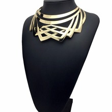 Choker Necklace for Women Hollow Out Gold Color Alloy Collar Necklace African Big Jewelry Chokers elegant triangle alloy shirt collar tips necklace silver