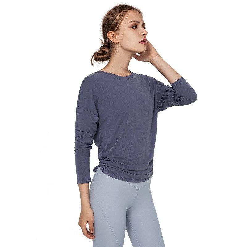 Women Sexy Open Back Sport Solid Yoga Shirts Long Sleeve Workout Tank Tops Fitness Tops Women Sports Shirt