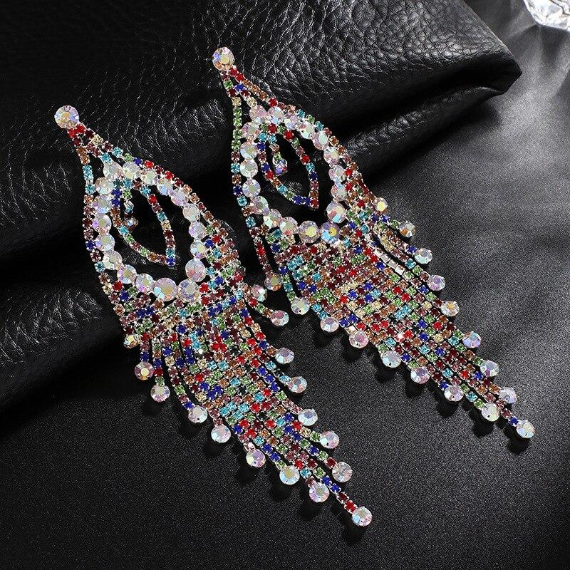Farlena Jewelry Multicolor Rhinestones Dangle Earrings For Women Wedding Accessory Fashion Bridal Long Crystal Tassel Earrings