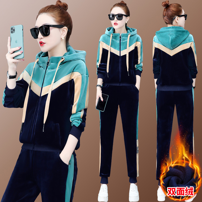 Warm Thick Velvet Tracksuit For Women Two 2 Piece Pants Outfits Plus Size Large Matching Winter Fall Hoodies Top Pant Suit