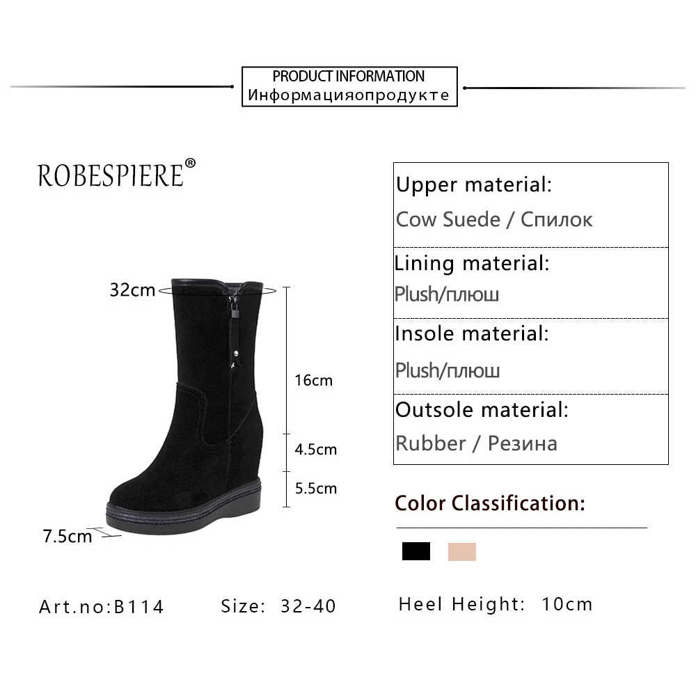 ROBESPIERE Women Winter Boots Height Increase Insole Black Pink Suede Genuine Leather Shoes Pop Warm Plush Girls Snow Boots B114