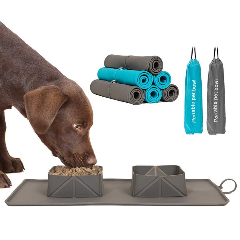 dog eating from portable pet placemat bowls
