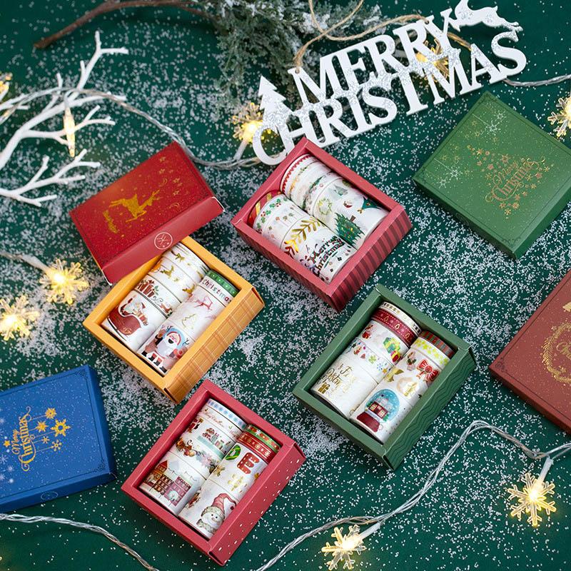 10Pcs Cute Christmas Washi Tape Kawaii Adhesive Tape Decor Masking Tapes For Kids Scrapbooking Photos Albums Supplies Stationery
