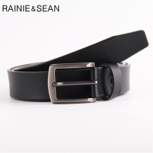 RAINIE SEAN Extra Long Belt Man Genuine Leather Square Buckle Black Casual Mens For Jeans 145CM 150CM 155CM 160CM 165