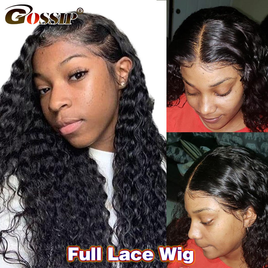 Pre Plucked Deep Wave Human Hair Wig Brazilian Long Glueless Full Lace Wigs For Black Women 180 Density Gossip Remy Hair Wig