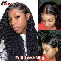 Peluca de cabello humano ondulado prearrancado, larga, brasileña, sin pegamento, encaje completo, para mujeres negras, 180 de densidad, Gossip, Remy