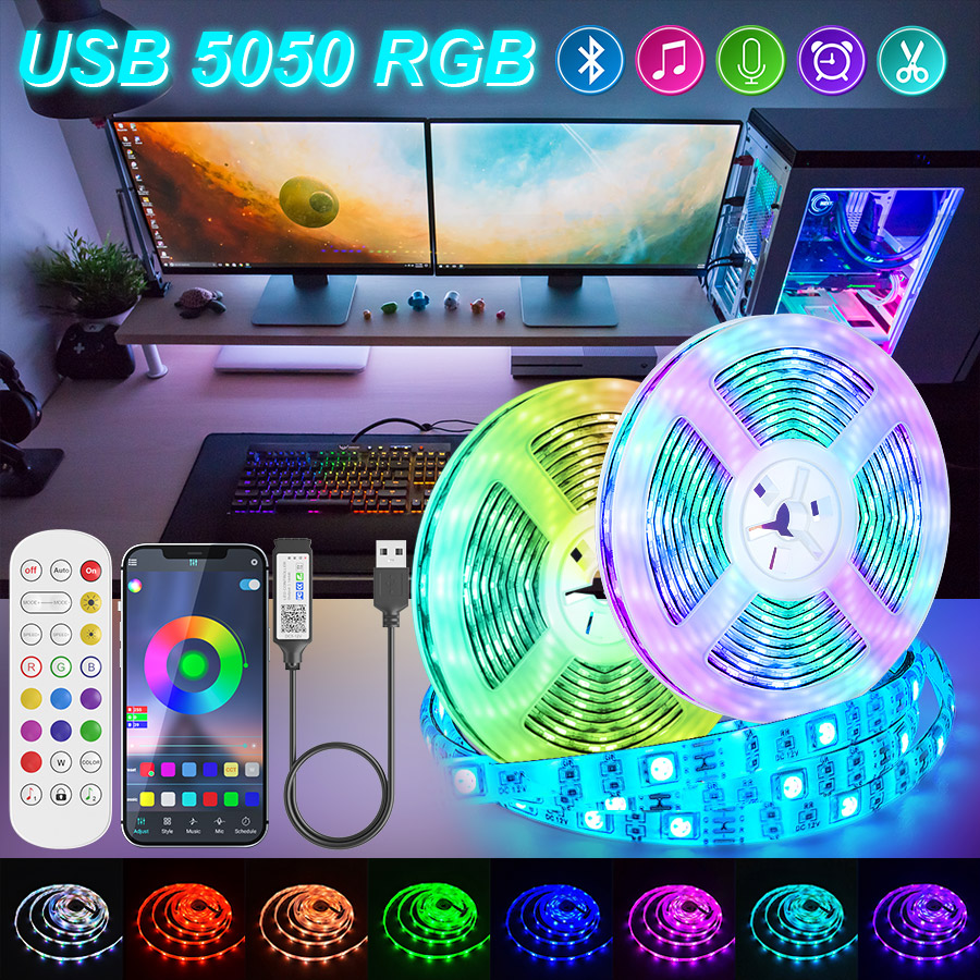 Bluetooth USB Led Strips Lights 5050 RGB 1M-30M Flexible Ribbon LED Lamp Tape Led Lights For Room TV Led BackLight Luces Led