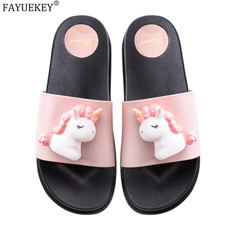 2020 new trend cute Cartoon Unicorns platform home flip-flops Shoes women girls student summer Beach house bathroom slippers
