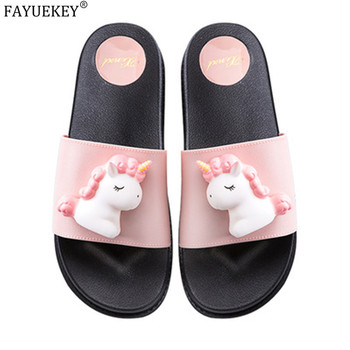 2020 new trend cute Cartoon Unicorns platform home flip-flops Shoes women girls student summer Beach house bathroom slippers