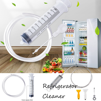 Portable Refrigerator Drain Cleaning Dredge Tool Drain Hole Pipe Kit Wash Brush Suction Syringe Hose Home Cleaner Sticks image