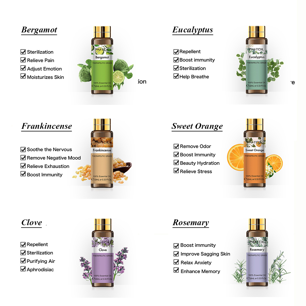 10ML Rosemary Geranium Pure Natural Essential Oil Diffuser Eucalyptus Bergamot Frankincense Sweet Orange Cloves Grapefruit Oil-3