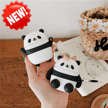 Funny Cute panda Bluetooth Earphone Case For Apple Airpods Cover Cartoon Silicone Headphone Case Box Headset Bag For Air pods(China)