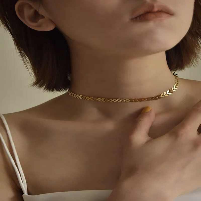 Metallic Lovertjes Vrouwen Korte Kraag Bone Europese En Amerikaanse Persoonlijkheid Minimalistische Veelzijdige Mode Choker Ketting