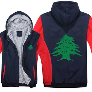 Image 1 - Drapeau libanais sweats à capuche polaire fermeture éclair épaissir hommes vêtements pull Cool liban sweat hommes