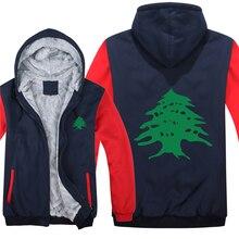 Flaga libanu bluzy z polaru na zamek błyskawiczny zagęścić mężczyzn odzież sweter fajne liban bluza mężczyzn