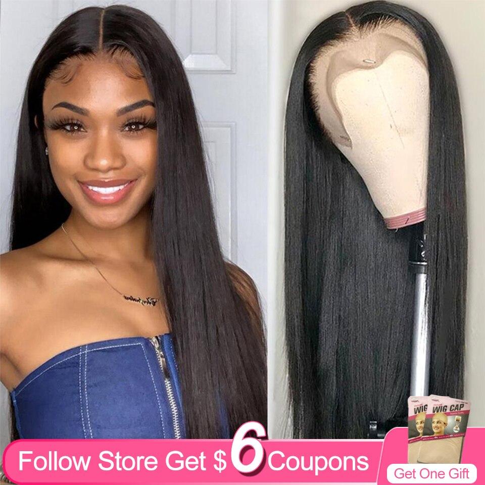 Pelucas frontales de encaje 13x4 de 30 pulgadas para mujer, cabello humano Remy liso brasileño sin pegamento, Color Natural, 4x4 con cierre de encaje