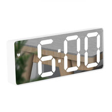 LED Spiegel Wecker Digitale Uhr Voice Control Snooze Zeit Temperatur Display Nacht Modus Hause Dekoration Uhr für Geschenk
