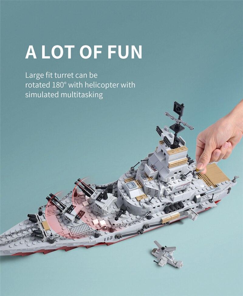 1000+ PCS Military Warship Navy Aircraft Army Figures Building Blocks LegoINGlys Army Warship Construction Bricks Children Toys (4)