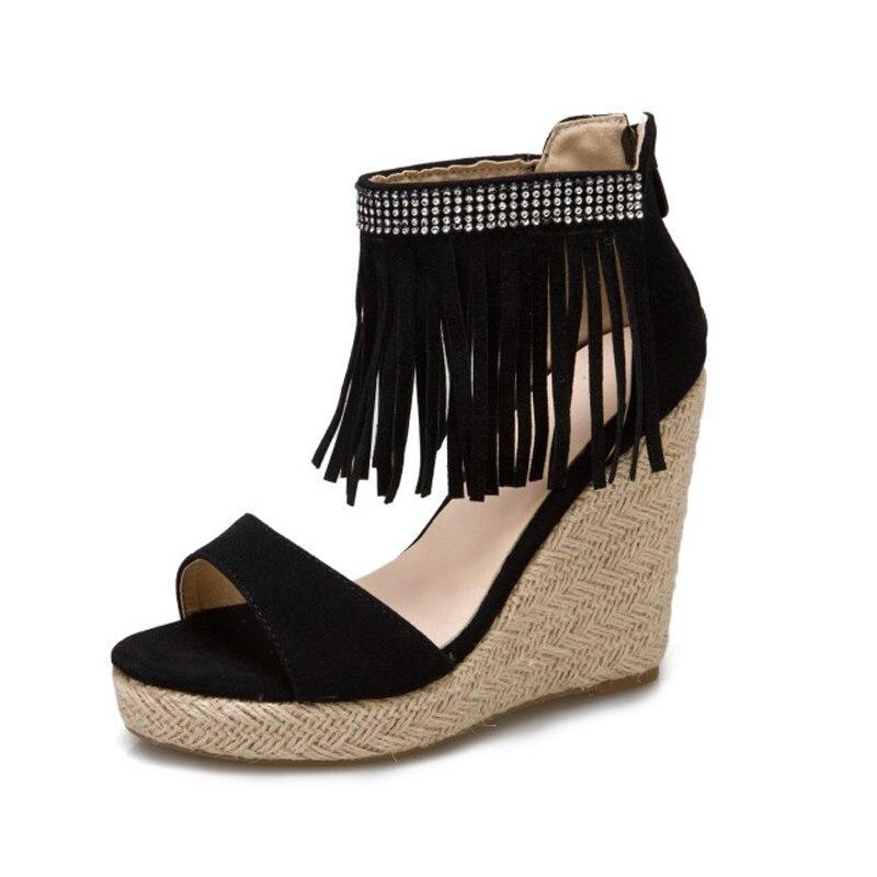 Sandals ladies 2021 summer thick-soled sandals women's heightened summer glass heels tassels  Zhongbang high heel women's shoes