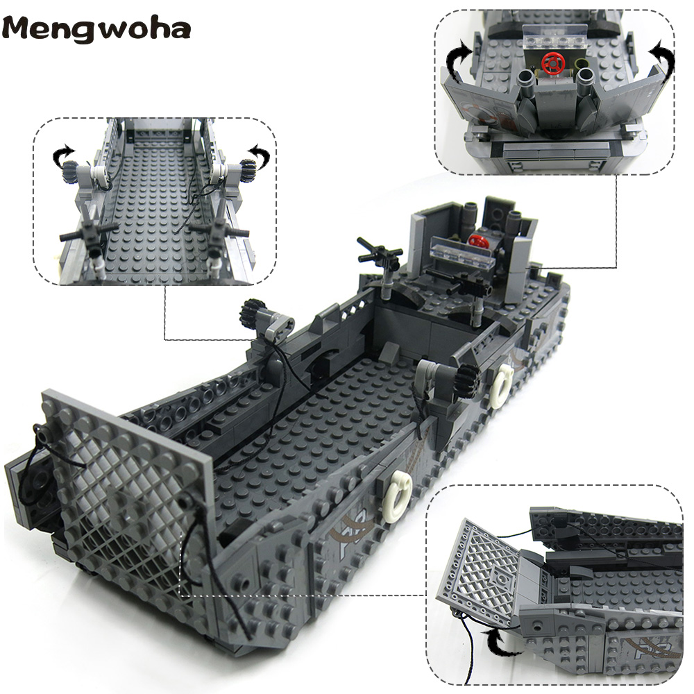 Image 5 - 413pcs WW2 Army Building Blocks USA LCM3 Landing Ship Military Battleship bricks With 6 soldier figures model Toys for childrenBlocks   -