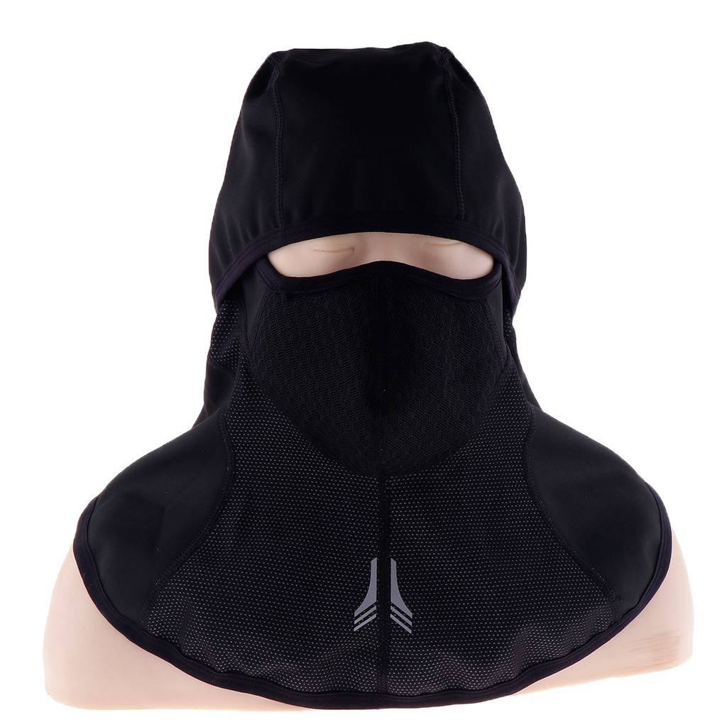 Windproof Thermal Zippered Full Face Mask Hat Outdoor Motorcycle, Cycling Winter Headwear Black